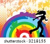 Rollerblading over rainbow. Grunge halftone background. (Vector) - stock vector