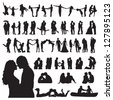 Romantic couples silhouettes - stock photo