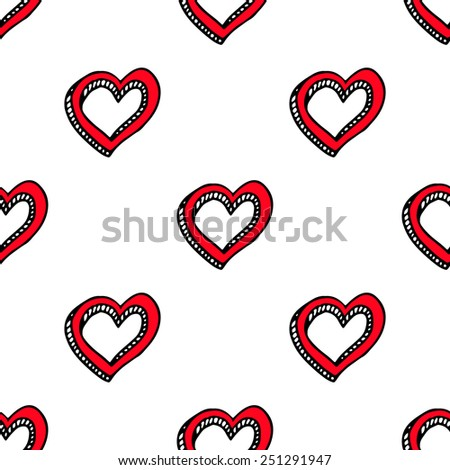 Romantic doodle hearts cute seamless pattern. Vector illustration. Hand drawn.