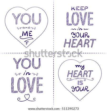 Romantic inscriptions lettering collection. Handwritten ink words of love, vector isolated set.