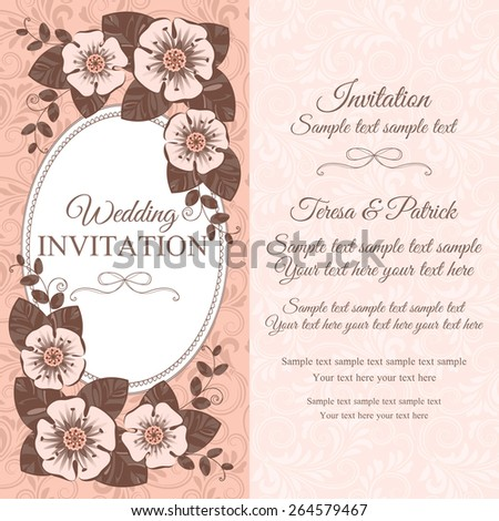 Romantic vintage wedding invitation card with floral elements, beige