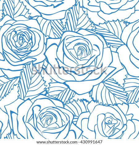 Rose blue seamless pattern. Floral luxury fashioned ornament