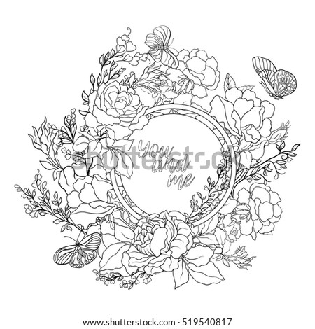 rose garland coloring pages - photo#2