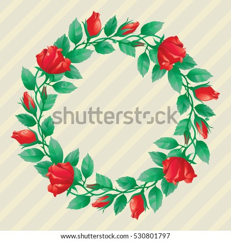 Roses border. Vector  wreath  of  many red roses and leaves with place for your text