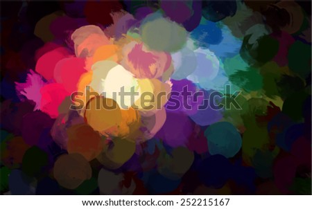 Round colorful brush strokes background. Vector version