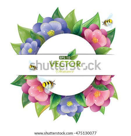 Round design of green leaves and violet flowers and flying bees isolated on white, vector illustration, eps-10