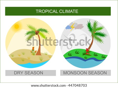 Round dry season and monsoon season tropical weather illustration icon button vector