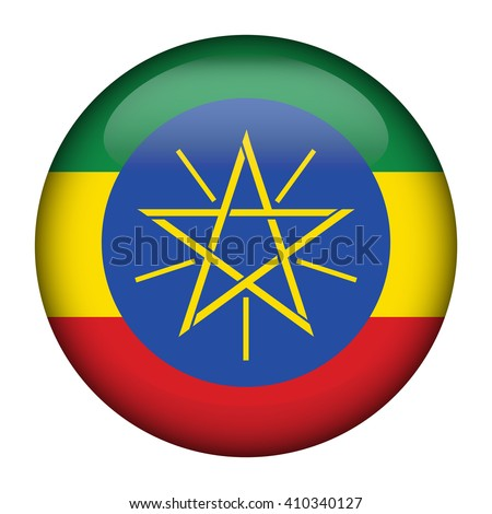 Round glossy Button with flag of Ethiopia