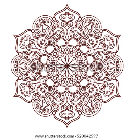 Round Mandala pattern with hand-drawn decorative elements