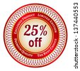 Round red and gold sticker or label on 25 percent discount - stock photo