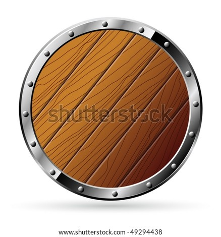 Round shield from wood and steel - isolated on white - vector
