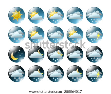 round shiny day and night  meteo icons