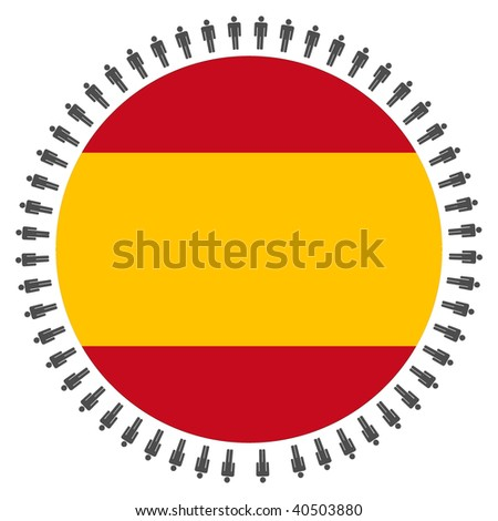 Round Spanish flag with circle of people illustration
