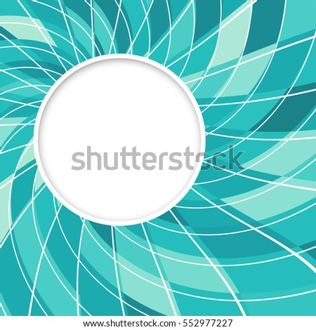Round speech bubble. Abstract white round shape. Digital blue green background.