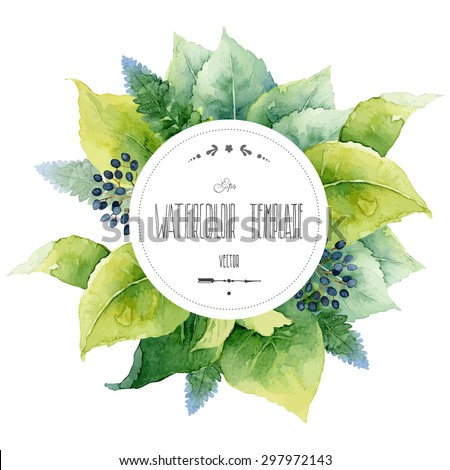 Round watercolor template with green leaves and circular place for text. Vector illustration