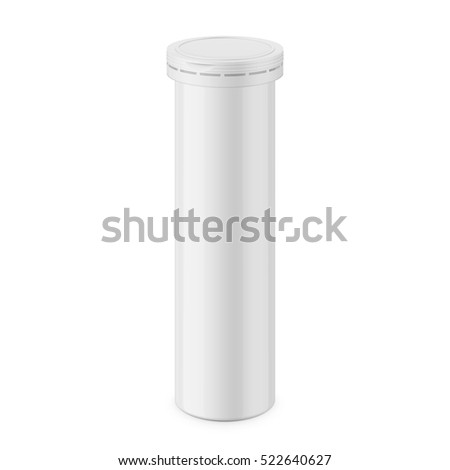 Round white glossy aluminum tube with cap for effervescent or carbon tablets, pills, vitamins. Realistic packaging vector mockup template. Eye-level view.