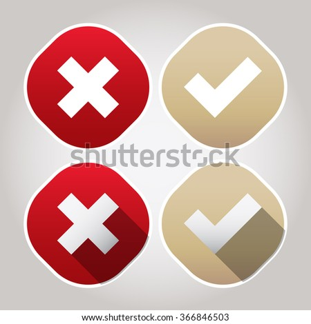 Rounded Check Mark - Red - Gold