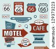 Route 66 sign. Symbol and Sticker - stock photo