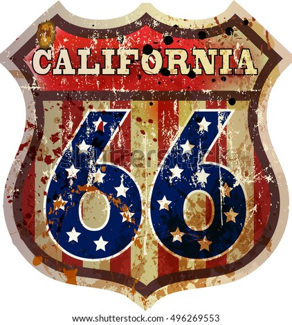 route sixty six road sign, California, retro style, vector