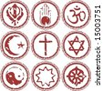 rubber stamp of world religions grungy look - stock vector