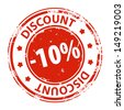 Rubber stamp with text Discount 10 percent icon isolated on white background. Vector illustration - stock vector