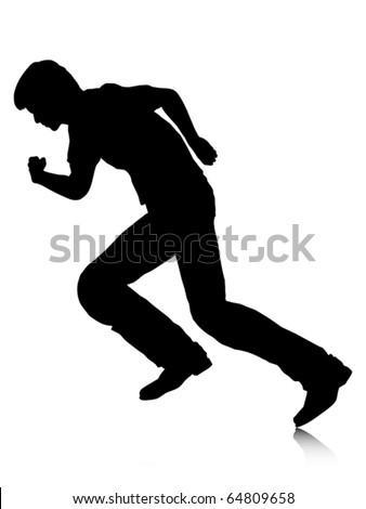 running cat silhouette  running boy silhouette - stoc...