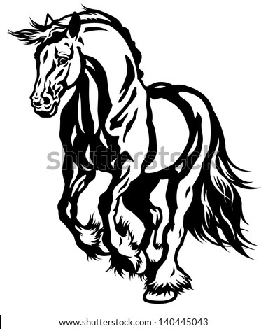 running draft horse black and white illustration