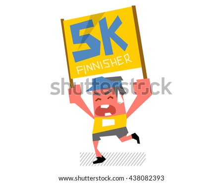 Running marathon. Flat vector illustration.