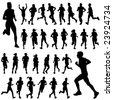running people set vector - stock vector
