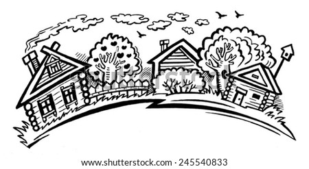 Rural Landscape Village Houses And Trees Black White Image