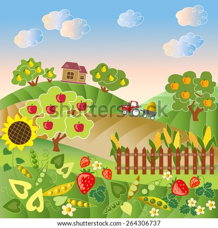 Rural landscape with hills, trees, plants, fence, house and tractor. Vector illustration.