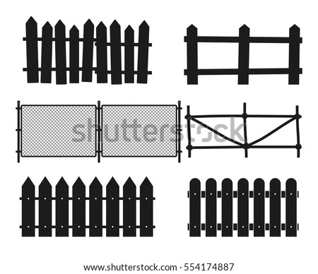 Rural wooden fences, pickets vector silhouettes. Wood design straight fence illustration.