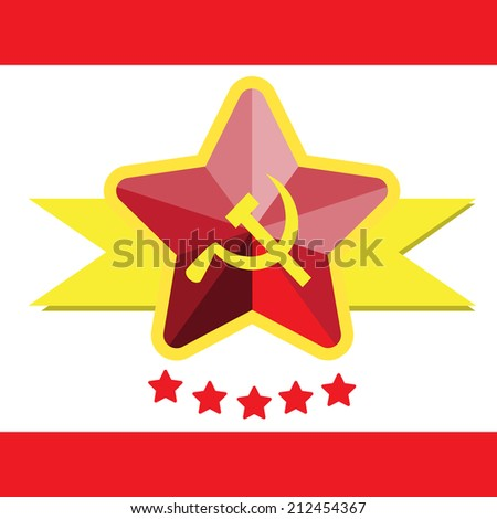Russian Communist Flags Hammer Sickle Vector Stock Vector ...