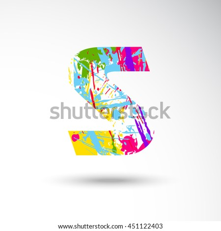 S Alphabet with colors splash style on grungy vector illustration