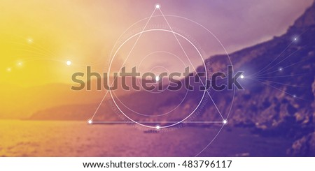Sacred geometry of the nature. Website banner with interlocking geometry shapes, flows of energy and particles in front of colorful mountain and sea landscape.