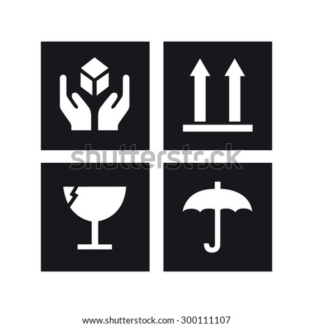 Safety box sign vector set