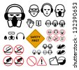 Safety signs for abrasive wheel on the angle grinder. Not allowed sign and safety first sign included - stock vector