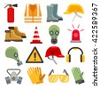 Safety work flat vector icons set.  - stock photo
