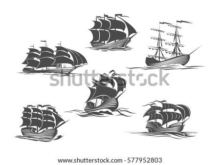 Blue Tall Ships Sailing Ships One Stock Vector 226262686