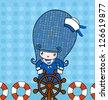 Sailor girl on blue background - stock vector