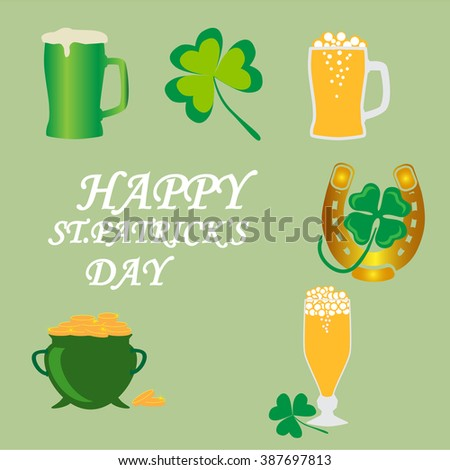 Saint Patrick's Day symbols vector .  Light beer in mugs . Old pot with gold coin