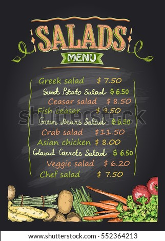 Chalk Menu List Blackboard Design Cafe Stock Vector 401249791