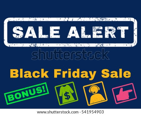 Sale Alert rubber seal stamp watermark with additional design elements for Black Friday sales. Vector bright multicolored signs. Tag inside rectangular shape with grunge design and scratched texture.