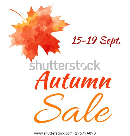 Sale. Autumn maple leaf on a white background.