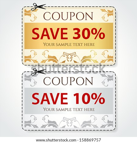 Sale Coupon Voucher Tag Gold Silver Vector 159138539 – Coupon Voucher Template