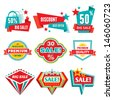 Sale & Discount Badges - Abstract Vector Logo Signs. Modern and retro vintage collection. Design elements.  - stock vector