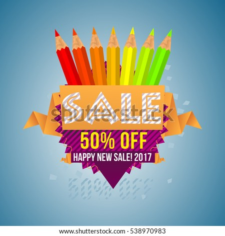 Sale, Fifty Percent Off, Happy New Sale! 2017 - Banner and Poster Design  with Colour Pencils