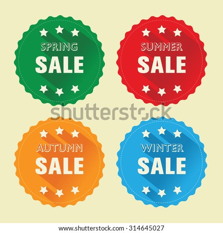Sale labels, season discount, sale badges with flat shadow, flat design