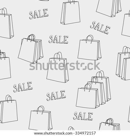 Sale shopping bags seamless pattern. For retail promotion graphic design. Black Friday season sale. For poster, postcard, wrapping paper design.