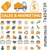 sales & marketing icons, signs, vector illustrations - stock vector